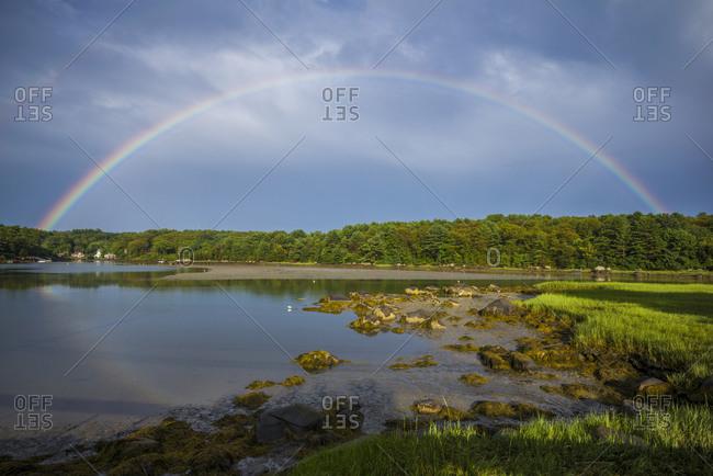 USA, Massachusetts, Cape Ann, Gloucester. Circular rainbow over Goose Cove