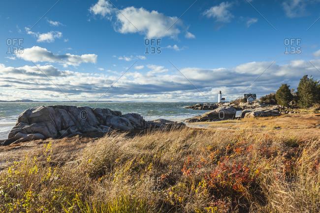USA, Massachusetts, Cape Ann, Gloucester. Annisquam Lighthouse during autumn.