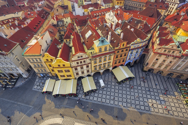 June 7, 2015: Europe, Czech Republic, Prague. Overview of colorful architecture in old town.