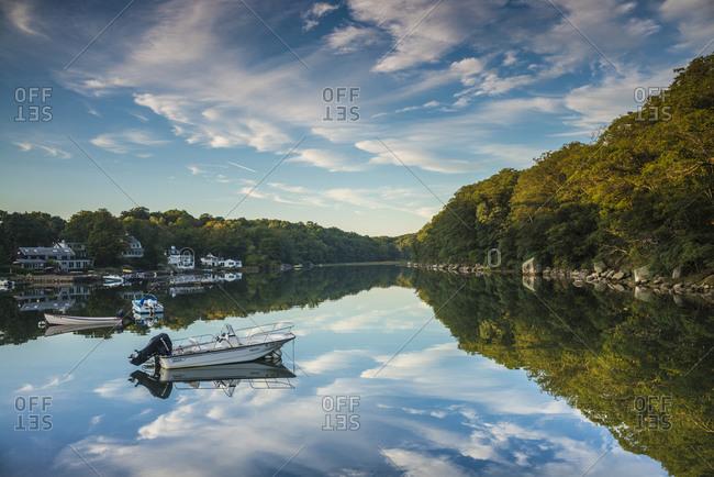September 18, 2018: USA, Massachusetts, Cape Ann, Gloucester. Annisquam, Lobster Cove, reflections