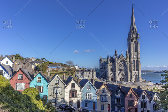 Deck of Card Houses with St. Colman's Cathedral in Cobh, Ireland
