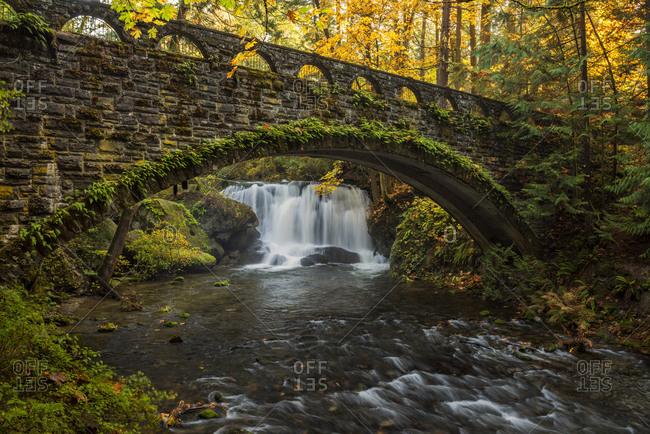 USA, Washington State, Whatcom Falls Park. Fall foliage at Whatcom Falls Bridge.