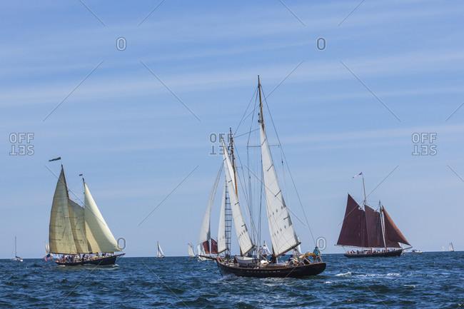 September 2, 2018: USA, Massachusetts, Cape Ann, Gloucester. Gloucester Schooner Festival, schooner parade of sail.