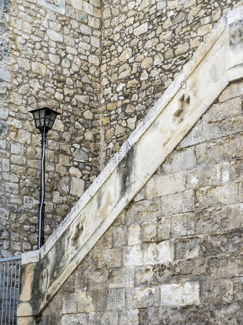 Historic old stone building and stairs.