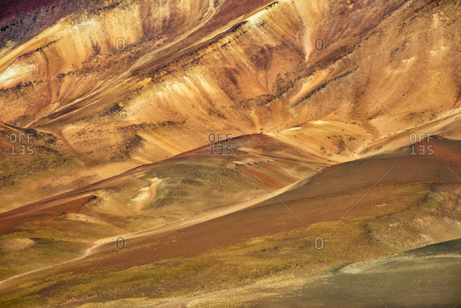 Multicolor texture of the Andes Mountain, Potosi Department, Bolivia