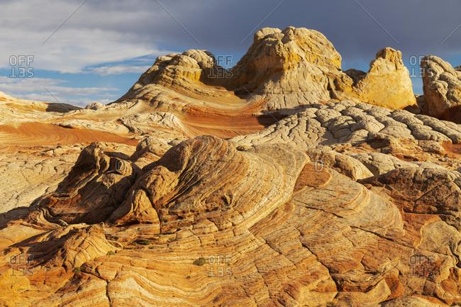 USA, Arizona, Vermilion Cliffs National Monument. Striations in sandstone formations.