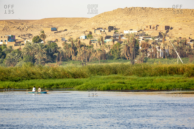 September 11, 2018: Egypt. Men rowing a small boat in the Nile