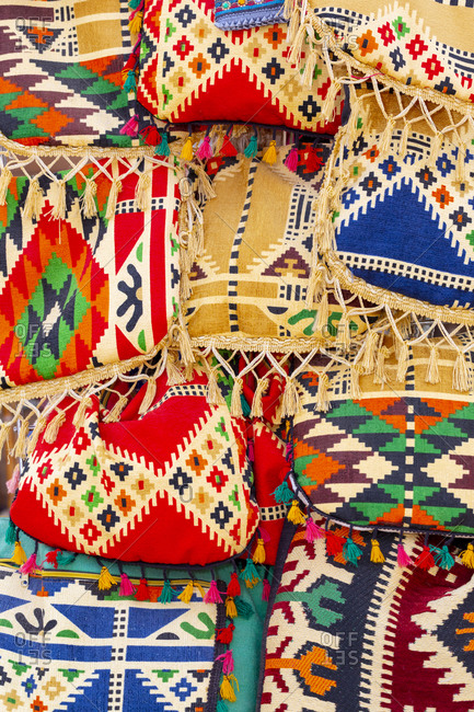 September 13, 2018: Egypt. Colorful woven bags. Nubian village on Elephantine Island, located in the Nile River area near Aswan