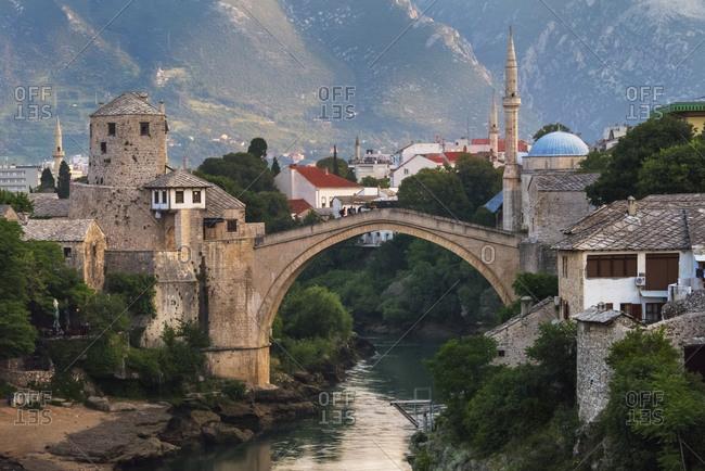 July 22, 2019: Stari Most (Old Bridge) over Neretva River, UNESCO World Heritage Site, Mostar, Bosnia and Herzegovina