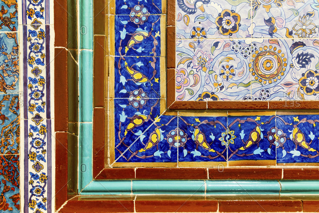 State of Qatar, Doha. Traditional Islamic tile work. Katara Cultural village.