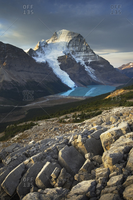 Canada, British Columbia. Mount Robson, highest mountain in the Canadian Rockies, elevation 3,954�m (12,972�ft), seen from Mumm Basin, Mount Robson Provincial Park.