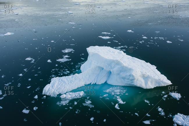 Greenland. Eqip Sermia. Icebergs and brash ice.