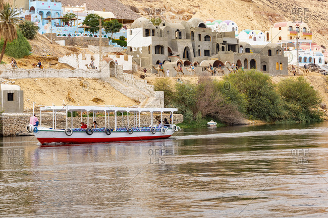 September 13, 2018: Egypt. Nubian village on Elephantine Island, located in the Nile River area near Aswan