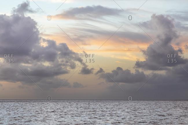 Caribbean, Grenada, Mayreau Island. Caribbean silver sunset.