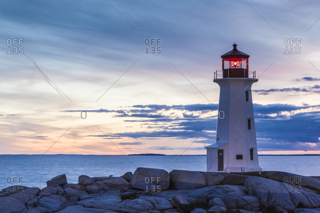 Canada, Nova Scotia, Peggy's Cove. Fishing village and Peggys Point Lighthouse.
