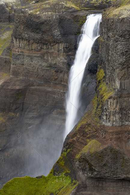 Iceland, Southern Highlands, Haifoss Waterfall. The Fossa River flowing over the cliffs, plunging 122 meters.
