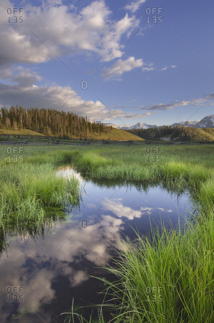 USA, Idaho. Wetlands in Stanley Basin, Sawtooth Mountains.