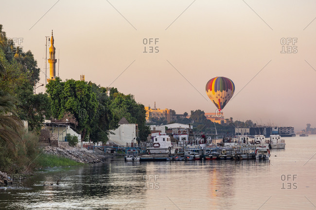 September 9, 2018: Egypt. Balloon tours from Luxor over the Nile River