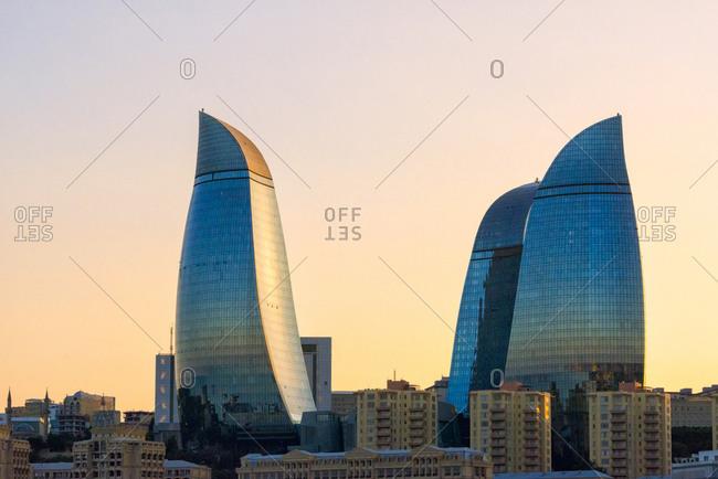 July 22, 2019: Flame Towers, Baku, Azerbaijan
