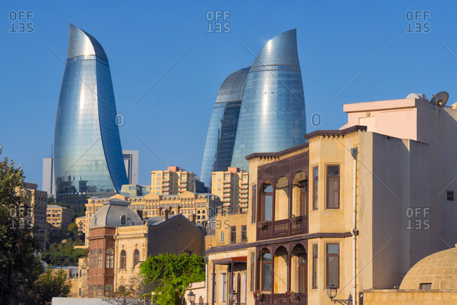 July 22, 2019: Old houses in the Inner City of Baku with Flaming Towers, Baku, Azerbaijan