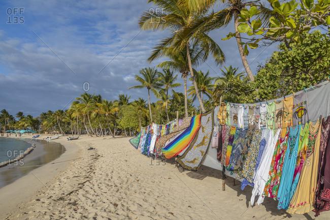 March 26, 2019: Caribbean, Grenada, Mayreau Island. Vendor's colorful display.