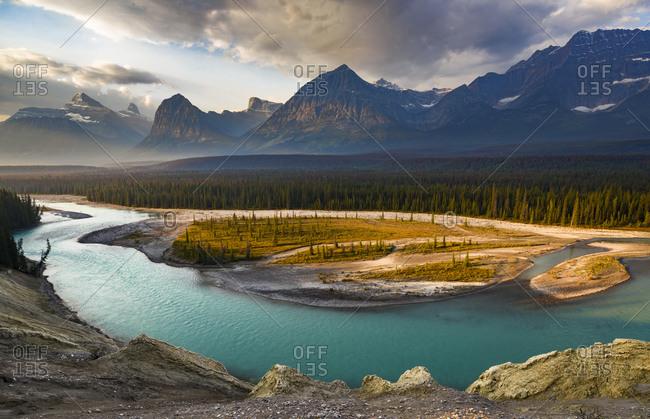 Canada, Alberta, Jasper National Park. Athabasca River Valley at first light.