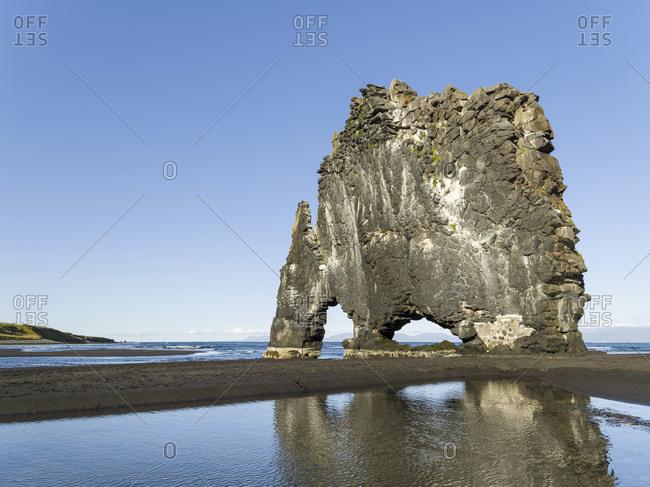 Sea stack Hvitserkur, a landmark of the peninsula. Landscape on peninsula Vatnsnes in northern Iceland.