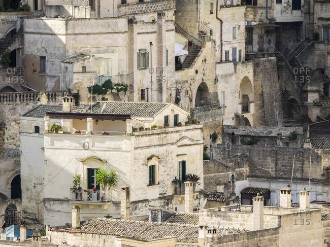 Historic cave dwellings, called Sassi houses, in the village of Matera.