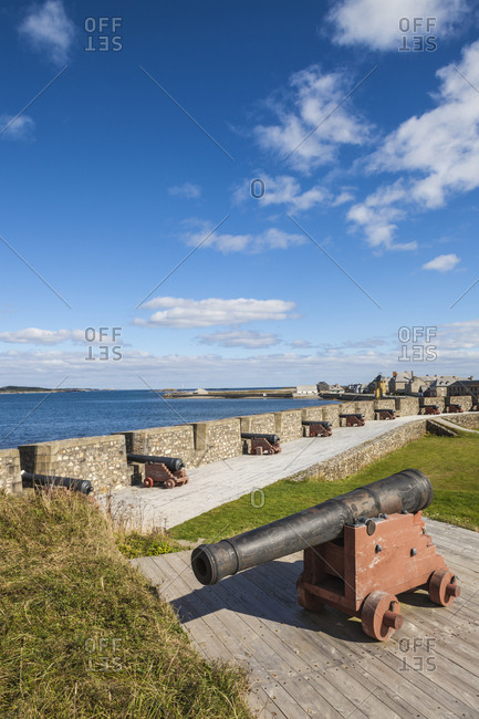 Canada, Nova Scotia, Louisbourg. Cannons at Fortress of Louisbourg National Historic Park.