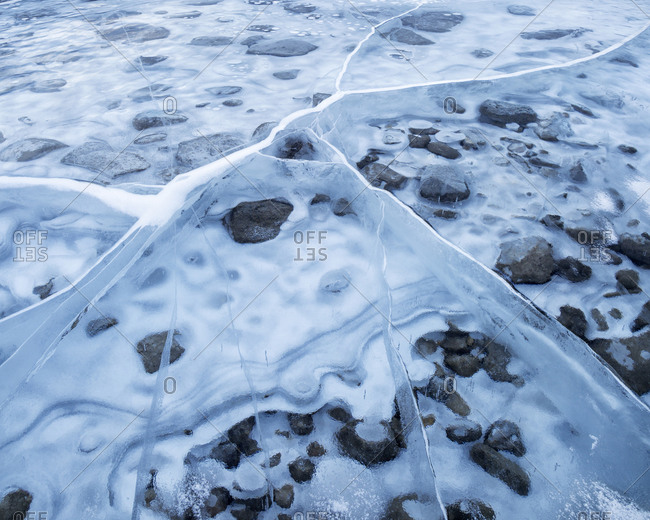 Canada, Alberta, Canmore, Spray Valley Provincial Park, Ice abstract at Spray Lakes