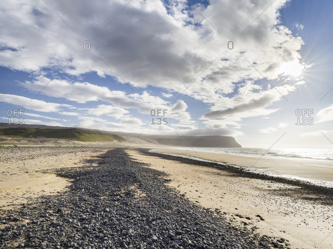 The sandy beach at Breidavik. The remote Westfjords in northwest Iceland.