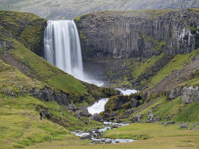 Waterfall Svodufoss. Landscape on peninsula Snaefellsnes in western Iceland.