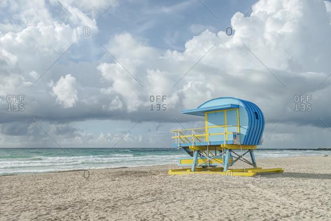 USA, Florida, Miami Beach. Colorful lifeguard station.