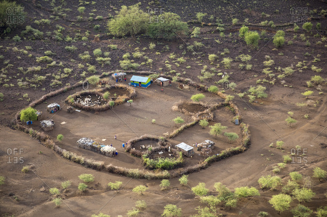 Africa, Kenya, Aerial view of Masai tribal settlement in Rift Valley near Oldonyo Nyokie