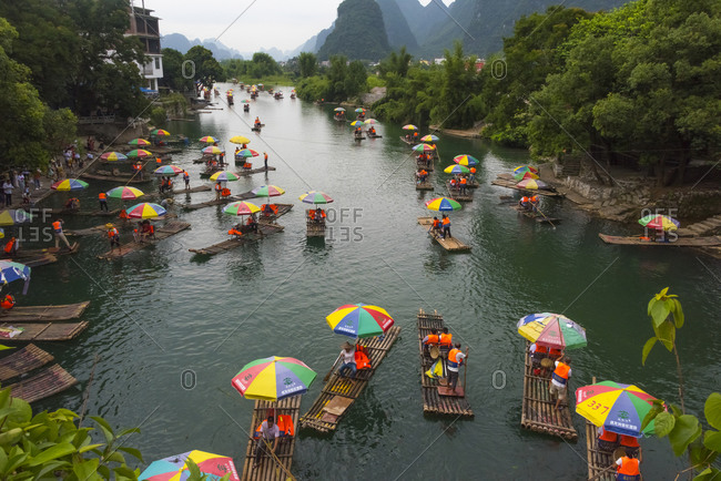 July 22, 2019: Bamboo rafts on Li River, Yangshuo, Guangxi Province, China