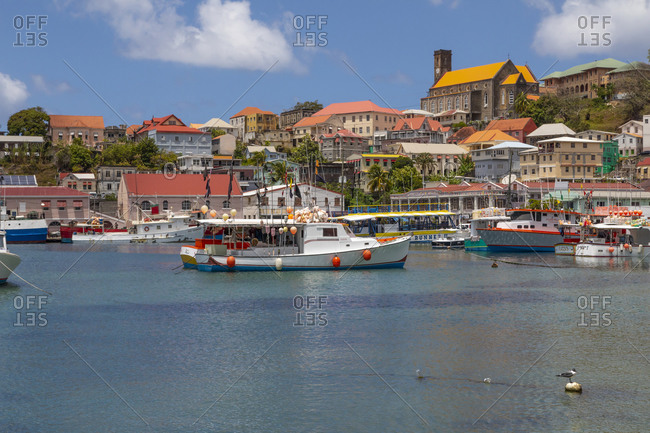 March 23, 2019: Caribbean, Grenada, St. George's. Boats in The Carenage harbor.