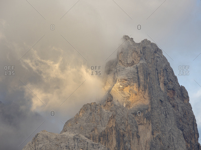 Cimon Della Pala. Peaks towering over Val Venegia seen from Passo Costazza. Pala group (Pale di San Martino) in the dolomites of Trentino, Italy. Pala is part of the UNESCO World Heritage Site.