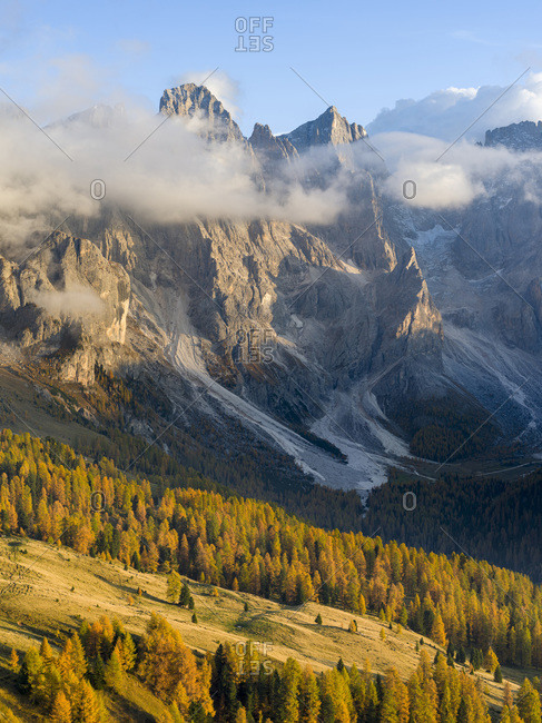 Cima della Vezzana, cima dei Bureloni. Peaks towering over Val Venegia. Pala group (Pale di San Martino) in the dolomites of Trentino, Italy. Pala is part of the UNESCO World Heritage Site.