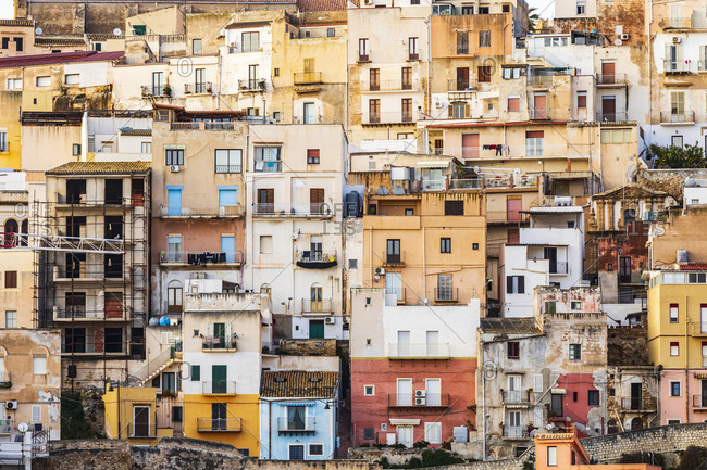 Italy, Sicily, Agrigento Province, Sciacca. Homes in the coastal town of Sciacca.