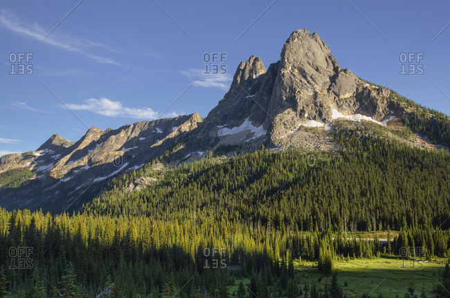 Liberty Bell Mountain and Early Winters Spires, seen from Washington Pass. North Cascades, Washington State