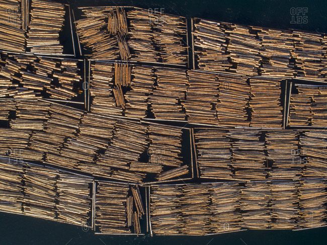 Canada, British Columbia, Campbell River, Aerial view of towed boom of freshly cut logs toward Seymour Narrows along Vancouver Island on summer evening