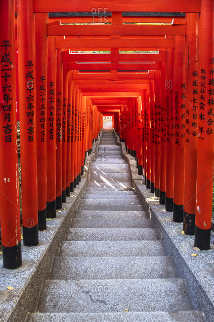 November 29, 2018: Famous Torii, or gates of the entrance to the Hie Shrine in Tokyo, Japan