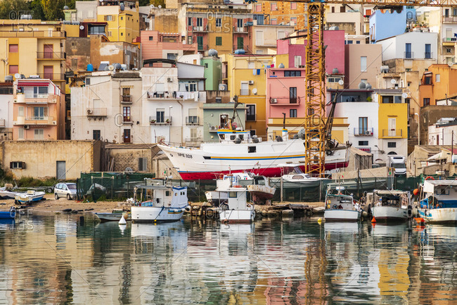April 16, 2019: Italy, Sicily, Agrigento Province, Sciacca. April 16, 2019. Fishing boats in the harbor of Sciacca, on the Mediterranean Sea