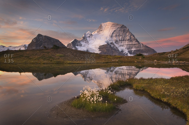 Canada, British Columbia. Sunrise over Mount Robson, highest mountain in the Canadian Rockies, elevation 3,954�m (12,972�ft), seen from Mumm Basin, Mount Robson Provincial Park.