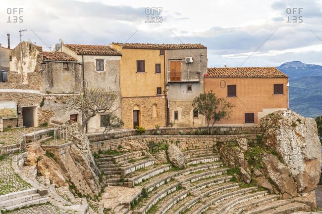 Italy, Sicily, Palermo, Pollina. The Teatro Pietra Rosa, a the stone theater in Pollina.