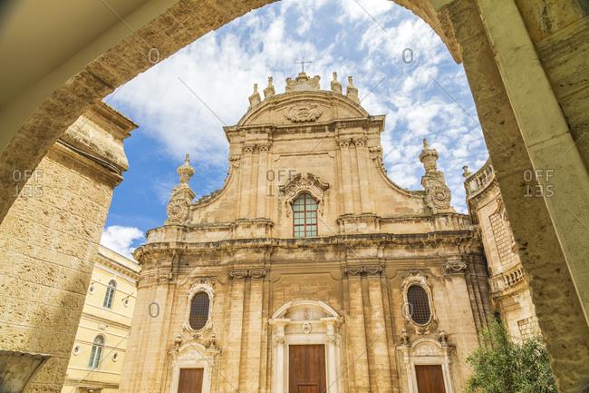 Italy, Apulia, Metropolitan City of Bari, Monopoli. Exterior facade of the Cattedrale della Madonna della Madia.