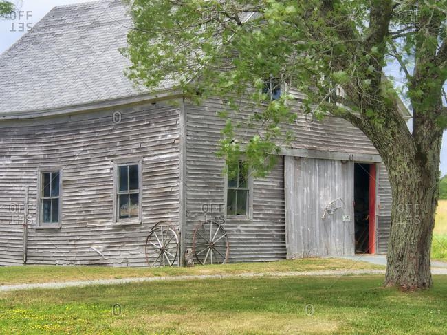 USA, Maine. Historic Stone Barn Farm (1820) in Bar Harbor.