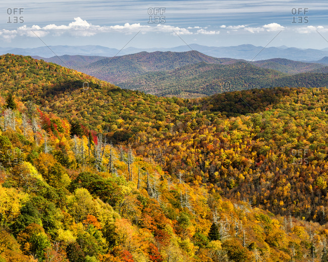 USA, North Carolina, Pisgah National Forest, View from the Blue Ridge Parkway's East Fork Overlook