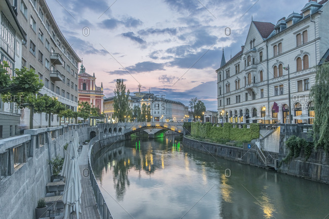 June 5, 2019: Slovenia, Ljubljana, Ljubljana River and Old Town at dawn