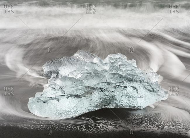 Icebergs on black volcanic beach, Iceland.